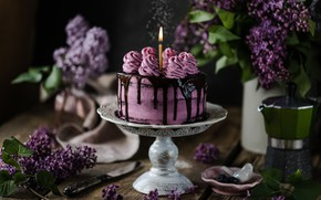 Picture cake, decoration, lilac, chocolate