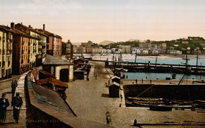 Picture home, port, old photo, Spain, old town, Spain, Basque Country, Basque Country, the old harbour, …
