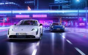 Picture the city, neon, Porsche, Porsche, TechArt, Aerokit, 2021, Taycan