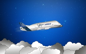 Picture the plane, The sky, Clouds, Minimalism, Stars, the plane, Art, Cargo, Airbus, Beluga, Airbus Beluga, …