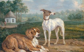 Picture animals, oil, picture, 1855, Jan Dasveldt, Two dogs