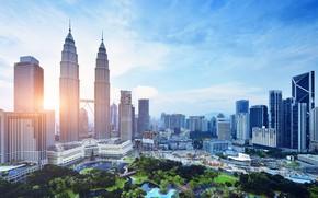 Picture the sun, home, skyscrapers, Malaysia, Kuala Lumpur, KLCC Park