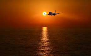 Wallpaper sea, sunset, the plane