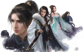 Picture girl, fantasy, art, guy, 叁乔居 3QSTUDIO, Snow Hawk Lords 4 Man figure