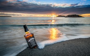 Picture sand, sea, the sun, sunset, whiskey, jack daniels