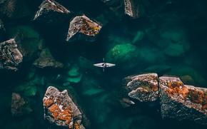 Picture sea, water, stones, the ocean, rocks, sport, rowing, the fjord, kayak