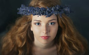 Picture look, girl, flowers, close-up, face, background, hair, makeup, freckles, red, brown hair, wreath, blue, blue-eyed, ...