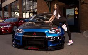 Picture machine, auto, girl, pose, Mitsubishi, Ilya Pistols, Christina Barkhatova