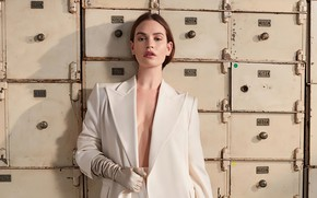 Picture look, girl, pose, actress, jacket, Lily James