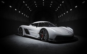 Picture the dark background, the tunnel, design, technology, exterior, sports coupe, Koenigsegg Jesko