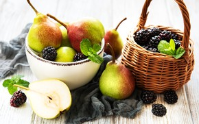 Picture berries, fruit, basket, pear, BlackBerry