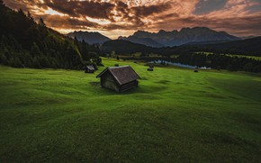 Wallpaper greens, field, forest, summer, the sky, grass, clouds, mountains, clouds, nature, green, lake, hills, the ...