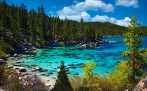 Picture landscape, nature, lake, stones, USA, forest, Bank, Tahoe, Lake Tahoe