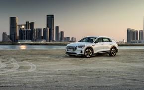 Picture white, the city, Audi, Parking, E-Tron, 2019