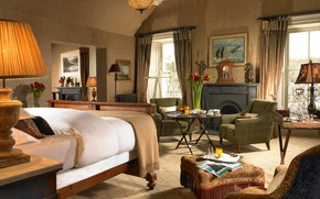 Picture interior, fireplace, bedroom, Bartra