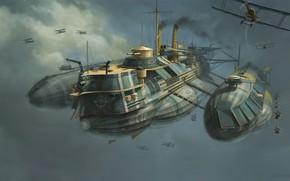 Wallpaper Figure, Aircraft, The ship, Art, Art, Fiction, Concept Art, WW1, Aircraft, Eddie Bennun, Ilustration, Flying ...