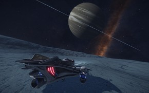 Picture space, nebula, planet, Spaceship, Elite: Dangerous