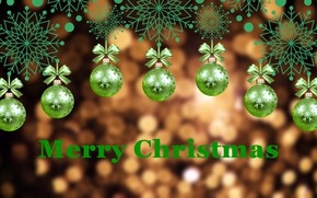 Picture balls, snowflakes, background, green