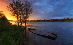 Picture summer, the sky, water, trees, sunset, river, the evening, Olontsev Andrew
