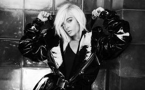 Picture blonde, black and white, celebrity, Bebe Rexha