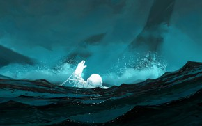 Picture Sea, The crash, Astronaut, Crash, Astronaut, Art, Illustration, Cosmonaut, by Clement Mona, Clement Mona, Hostile …