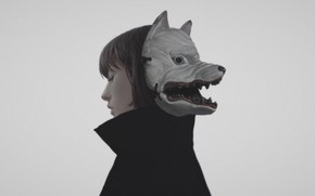 Picture girl, mask, beast