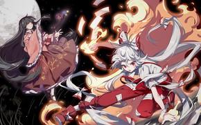 Picture space, girls, the moon, anime, art, Touhou, Touhou, Touhou