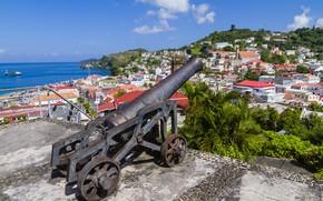 Picture sea, monument, gun, Caribbean, Grenada