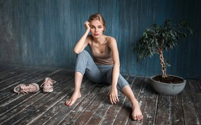 Picture look, pose, wall, model, plant, portrait, makeup, Mike, figure, hairstyle, sitting, on the floor, sneakers, …