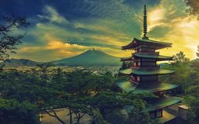 Picture landscape, castle, mountain, Japan