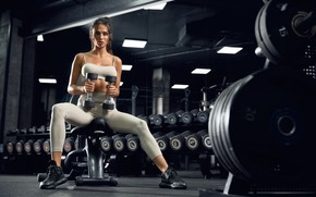 Picture girl, sport, fitness, bodybuilding, the gym, dumbbells