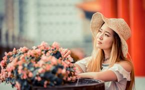 Picture girl, flowers, bouquet, hat, Asian, cutie, bokeh