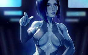 Picture chest, girl, fiction, art, halo, cortana
