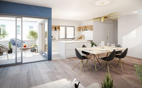 Picture interior, kitchen, dining room, diagonal apartment in Lyon