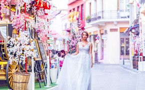 Picture romance, tale, dress, Princess, pink background, beautiful girl