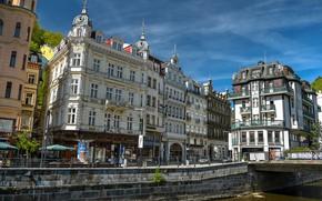 Picture the sky, the sun, bridge, street, home, Czech Republic, channel, Karlovy Vary