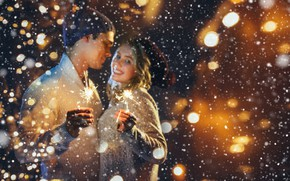 Picture winter, girl, snow, new year, pair, bokeh, sparklers, guy