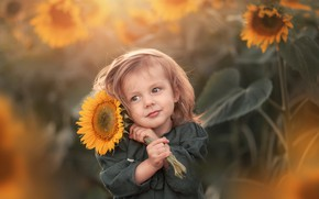 Picture sunflower, girl, baby, bokeh, Марта Козел