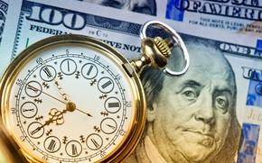 Wallpaper dollar, time, clock