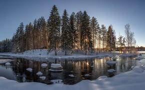 Picture forest, house, river, Winter, photographer Evalds Kivlenieks