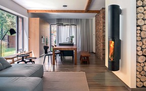 Picture interior, kitchen, fireplace, living room, dining room, small room