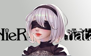 Picture girl, eye patch, Nier Automata, YoRHa No 2 Type B