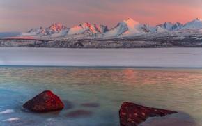 Picture landscape, mountains, nature, lake, stones, dawn, ice, spring, morning, may, snow, Vladimir Ryabkov, Kolyma, the …