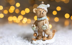 Picture background, holiday, Christmas, bear, figure, bokeh