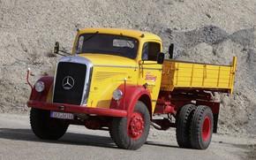 Picture Mercedes-Benz, dump truck, bonnet, L-series, самосвал с трёхсторонней разгрузкой, LAK 315 Dreiseitenkipper