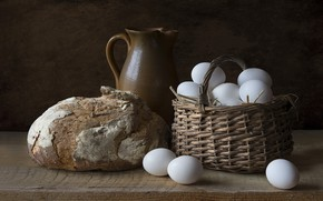 Picture eggs, pitcher, still life