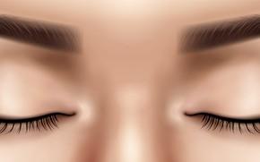 Picture Girl, Eyes, Eyelashes, Art, Closeup, Eyebrows, Closed eyes