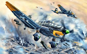 Wallpaper attack, Dive bomber, Stuka, specialized, SC 250, bombs, SC50, Ju-87D-5, Henschel Hs 129