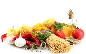 Picture cheese, pepper, vegetables, tomatoes, pasta