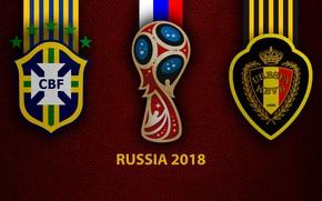 Picture FIFA World Cup, wallpaper, football, sport, Brazil vs Belgium, Russia 2018, logo